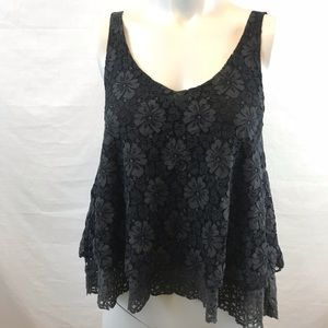 American Eagle Black and Grey Floral Lace Tank Top